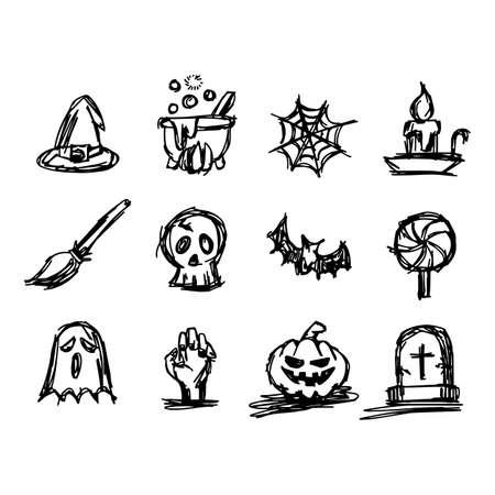 spider web: Halloween icon set illustration sketch hand drawn with black lines. Illustration