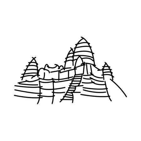 白い背景に分離されたアンコール ワット黒線ベクトル図