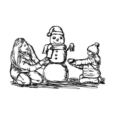Happy mother and her daughter building snowman outside in winter time vector illustration. Illustration