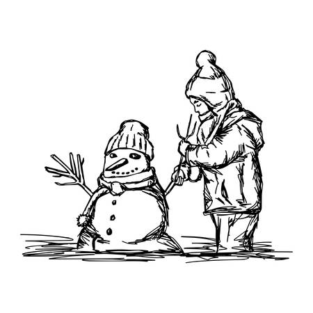 Happy child building snowman outside in winter time vector illustration. Illustration