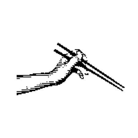 black 8-bit hand holding chopsticks vector illustration isolated on white background