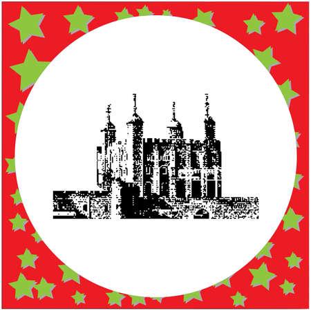 black 8-bit Tower of London vector illustration isolated on white background Illustration