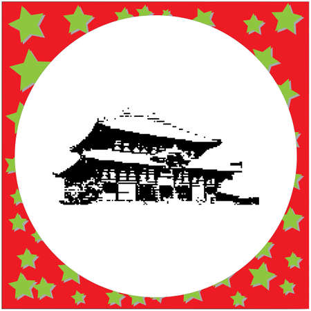 black 8-bit Todaiji Temple vector illustration isolated on white background