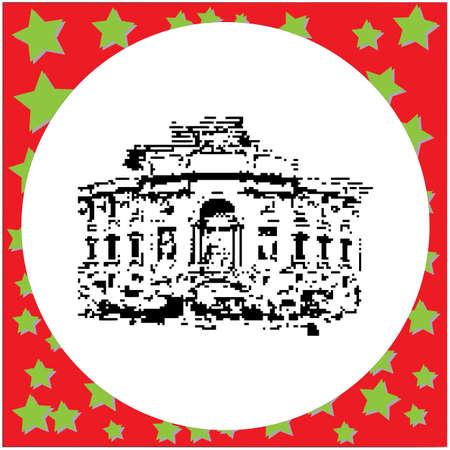 black 8-bit Trevi Fountain vector illustration isolated on white background Illustration