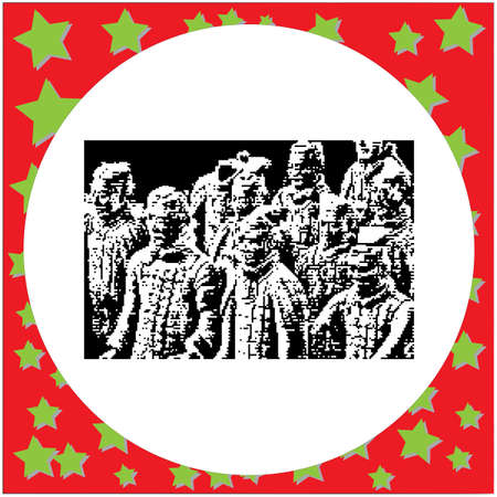 black 8-bit Terracotta Warriors background vector illustration isolated on white background
