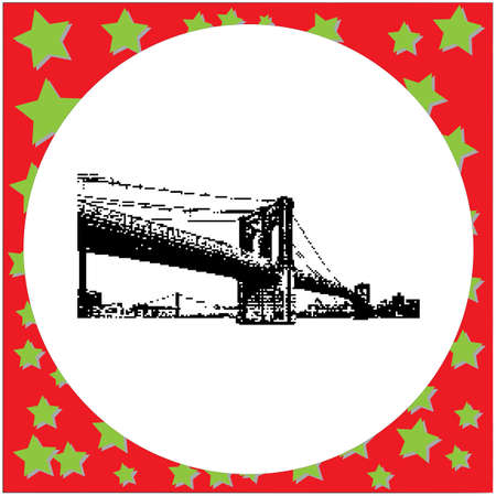 black 8-bit Brooklyn Bridge vector illustration isolated on white background Illustration