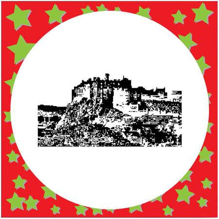 Black 8-bit Edinburgh Castle illustration isolated on white background Illustration