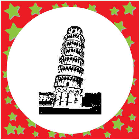leaning tower of pisa: Black 8-bit leaning tower of Pisa Italy illustration isolated on white backgroundround