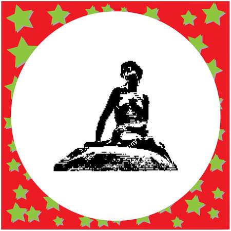 poquito: Black 8-bit Little mermaid statue in Copenhagen Denmark illustration isolated on white backgroundround Vectores