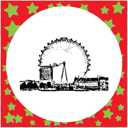 Black 8-bit The London Eye. Illustration