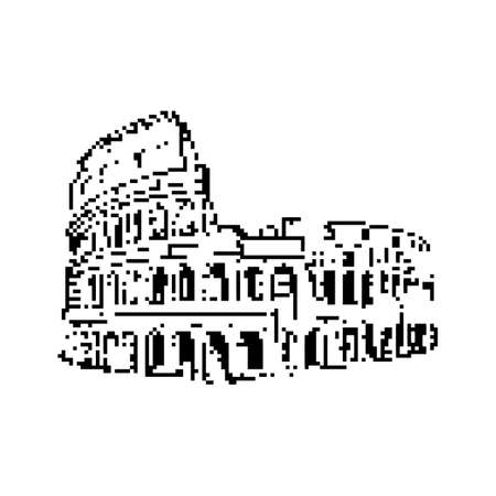 Colosseum in Rome Italy icon. Illustration