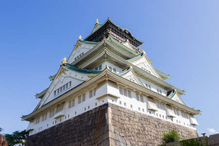 Osaka castle on clear blue sky Editorial