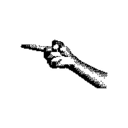 right hand pointing 8 bit minimalistic pixel art vector illustration isolated on white background