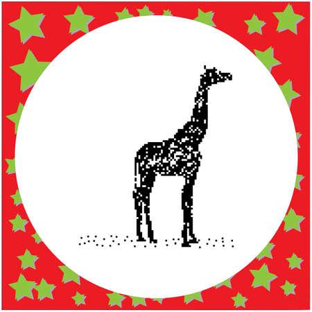 Giraffe pixalated drawing. Illustration