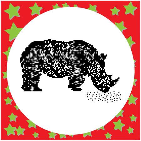 Rhinoceros pixalated drawing.