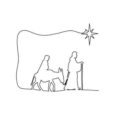 Mary en Joseph reizen door het dessert