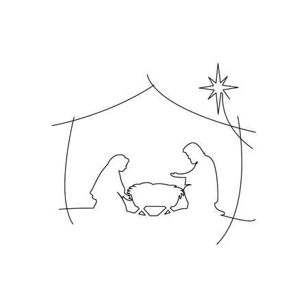 赤ん坊イエス ・ キリストのキリスト教のクリスマス キリスト降誕のシーン