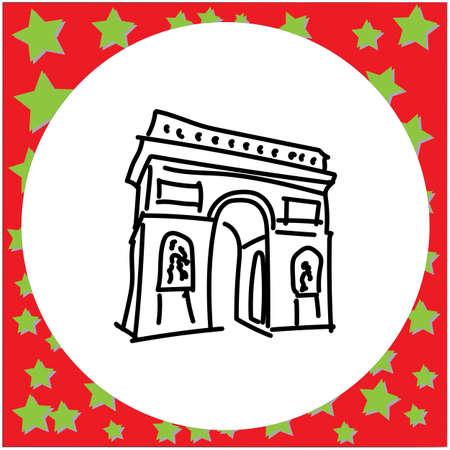 Arc de Triomphe landmark of Europe doodle hand drawn black line vector illustration in white circle frame Illustration