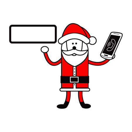 Santa Claus holding editable blank sign and smartphone on the left hand vector illustration