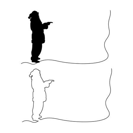 silhouette Santa claus pointing vector illustration outline black line, isolated on white background. Copyspace Illustration