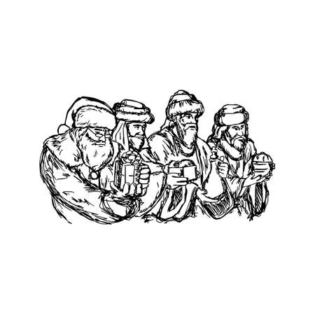 three kings: three wise men and santa claus vector illustration sketch hand drawn with black lines, isolated on white background