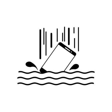 Slimme telefoon druppel in het water met spatten vector illustratie zwarte lijnen, geïsoleerd op een witte achtergrond. Waterdicht systeemconcept. pictogramstijl.