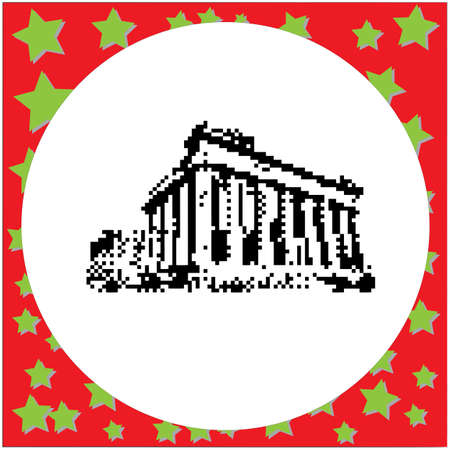 Parthenon on the Acropolis in Athens, Greece black 8-bit  vector illustration isolated on round white background with stars