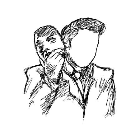 businessman remove his face off his head vector illustration sketch hand drawn with black lines isolated on white background