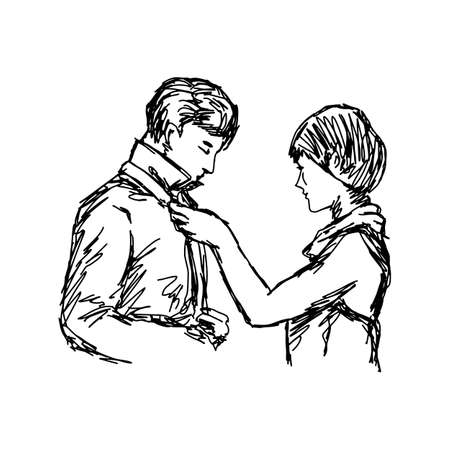 Wife tying necktie of her husband vector illustration sketch hand drawn with black lines isolated on white background Illustration