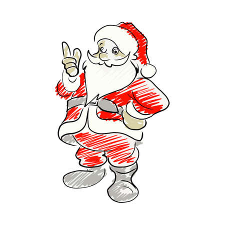 Santa claus pointing up vector illustration sketch hand drawn isolated on white background
