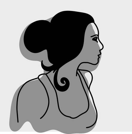 Side view of sexy female model with shadow vector illustration sketch hand drawn with black curved lines isolated on gray background