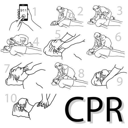 Emergencia primeros auxilios cpr procedimiento vector ilustración boceto dibujado a mano con líneas negras aisladas sobre fondo blanco