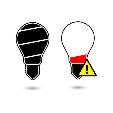 Black bulb light in the shape of battery icon vector illustration black lines isolated on white background.