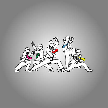 businessman with different color necktie posting like Japanese sentai superhero vector illustration doodle sketch hand drawn with black lines isolated on gray background. Teamwork. Business concept. Illustration