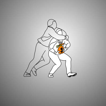 Man holding orange bag of money and other tackling the other man illustration.