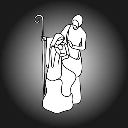 神聖な家族のベクトル イラスト落書きとキリスト降誕のシーンは、灰色の背景に分離した黒い線で描かれた手をスケッチします。