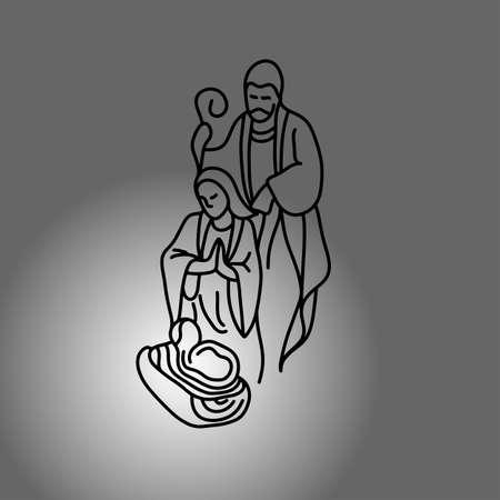 거룩한 가족과 함께 출생 장면 벡터 일러스트 레이 션 그라데이션 회색 배경에 고립 된 검은 선으로 그린 스케치 손으로 그리기.