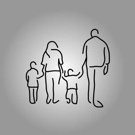Back of four people family holding hand vector illustration doodle sketch hand drawn with black lines isolated on gray background