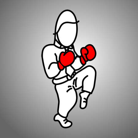 businessman wearing red boxing gloves fighting vector illustration doodle sketch hand drawn with black lines isolated on gray background. Business concept.  Illustration