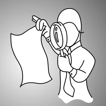 businessman using magnifying glass to search something in paper vector illustration doodle sketch hand drawn with black lines isolated on gray background. Business concept.