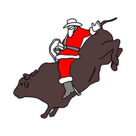 Santa Claus with cowboy hat riding big bull vector illustration sketch hand drawn with black lines isolated on white background