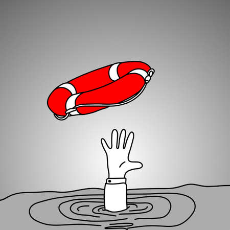 Drowning businessman getting red lifebuoy from another man illustration.