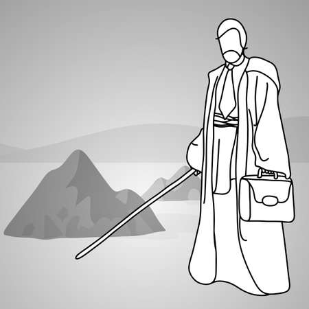 old businessman with traditional costume holding glowing saber sward standing on desert vector illustration doodle sketch hand drawn with black lines isolated on gray background. Leadership business concept.