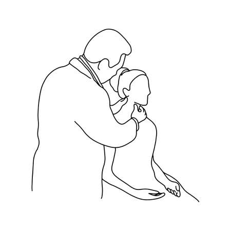 male doctor check up a neck of female patient vector illustration