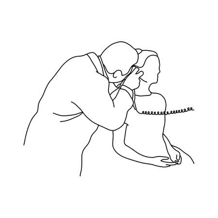 Male doctor check up an ear of female patient vector illustration outline sketch hand drawn with black lines isolated on white background. Comprehensive physical examination. asmr. Medical concept.