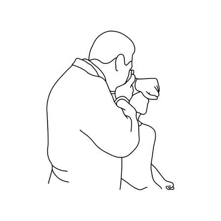 Male doctor testing optical equipment before using on his patient vector illustration outline sketch hand drawn with black lines isolated on white background. Comprehensive physical examination. asmr. Medical concept.