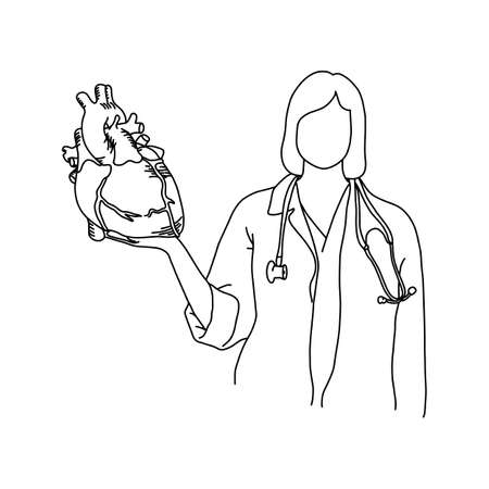 Female doctor with stethoscope on her neck holding a human heart illustration. Illustration