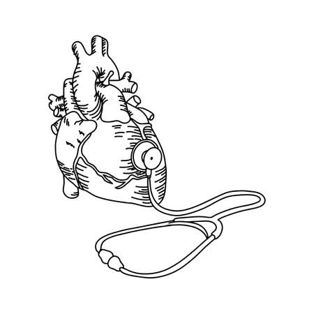 Human heart with stethoscope illustration outline sketch hand drawn with black lines.