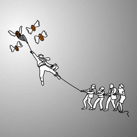 Business people tug of war with flying money illustration. Doodle sketch hand drawn with black lines on gray background. Team work business concept.