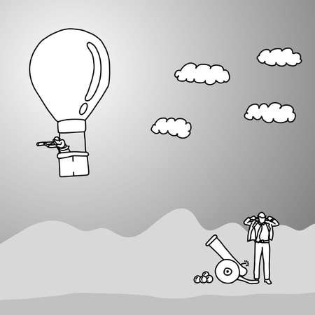 businessman trying to use cannon shooting his colleague on the balloon vector illustration doodle sketch hand drawn with black lines isolated on gray background. Business concept.